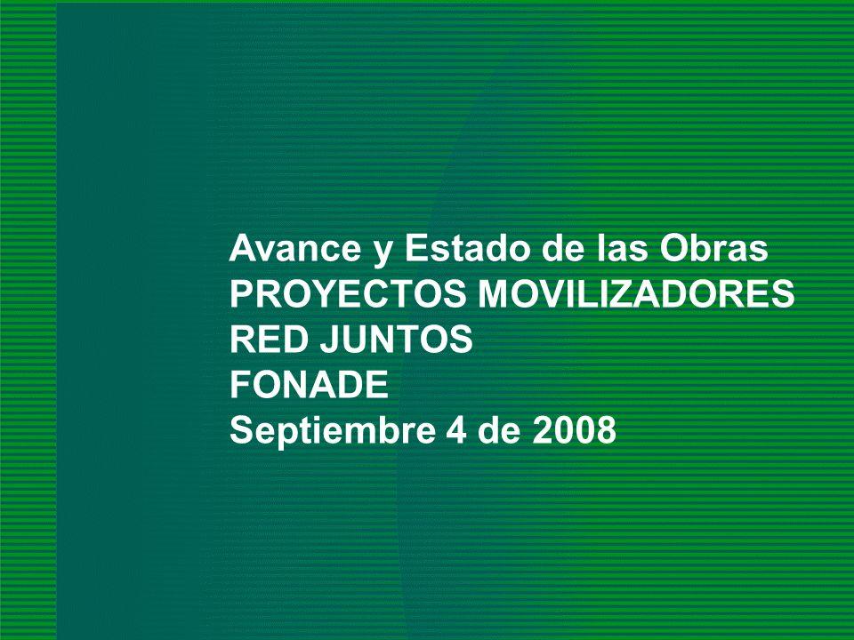 FONADE - 2008 2008 Avance y Estado de las Obras PROYECTOS MOVILIZADORES RED JUNTOS FONADE Septiembre 4 de 2008