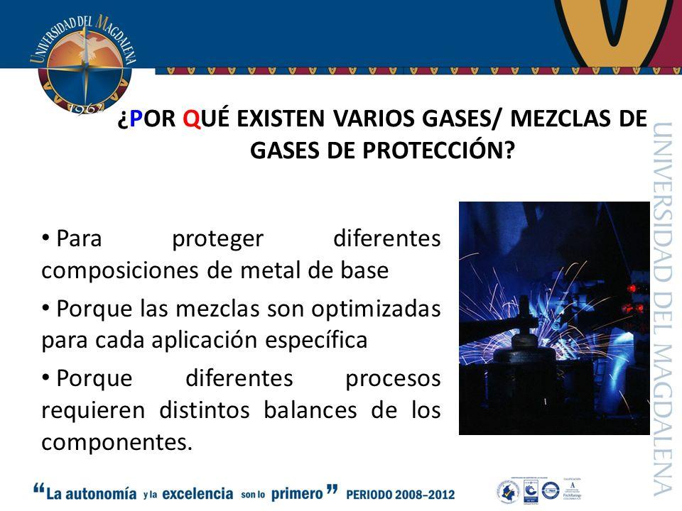 ¿POR QUÉ EXISTEN VARIOS GASES/ MEZCLAS DE GASES DE PROTECCIÓN.