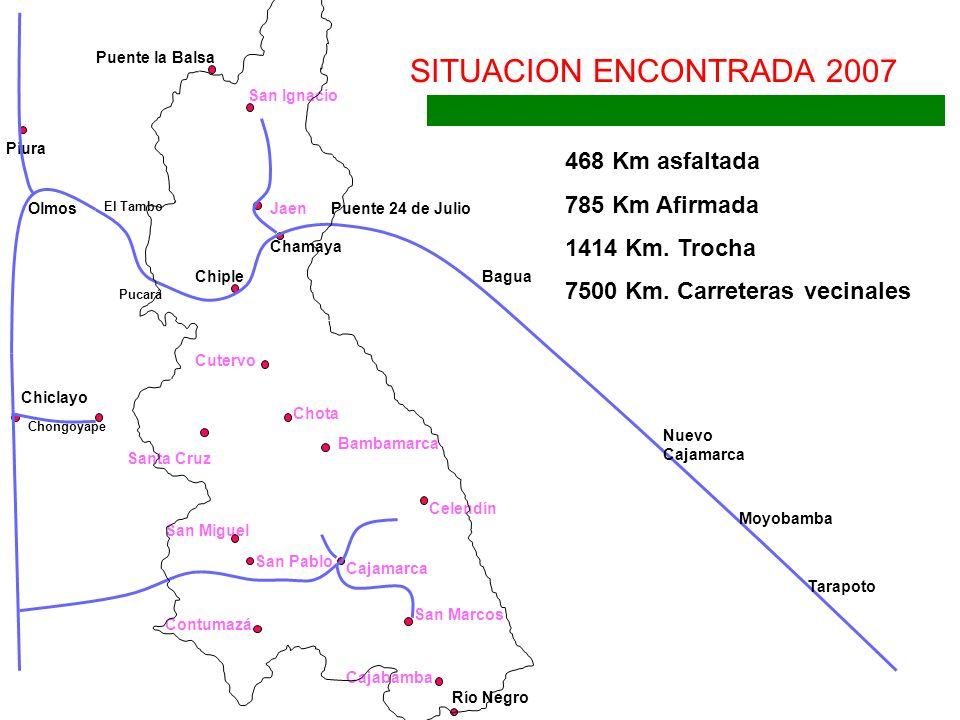 Chiple Jaen San Ignacio Puente la Balsa Cutervo Chota Santa Cruz Chongoyape Bambamarca Celendín Cajamarca San Marcos San Miguel Chamaya SITUACION ENCO