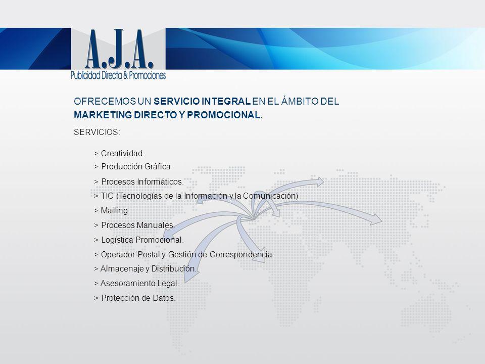 OFRECEMOS UN SERVICIO INTEGRAL EN EL ÁMBITO DEL MARKETING DIRECTO Y PROMOCIONAL. SERVICIOS: > Creatividad. > Producción Gráfica > Procesos Informático