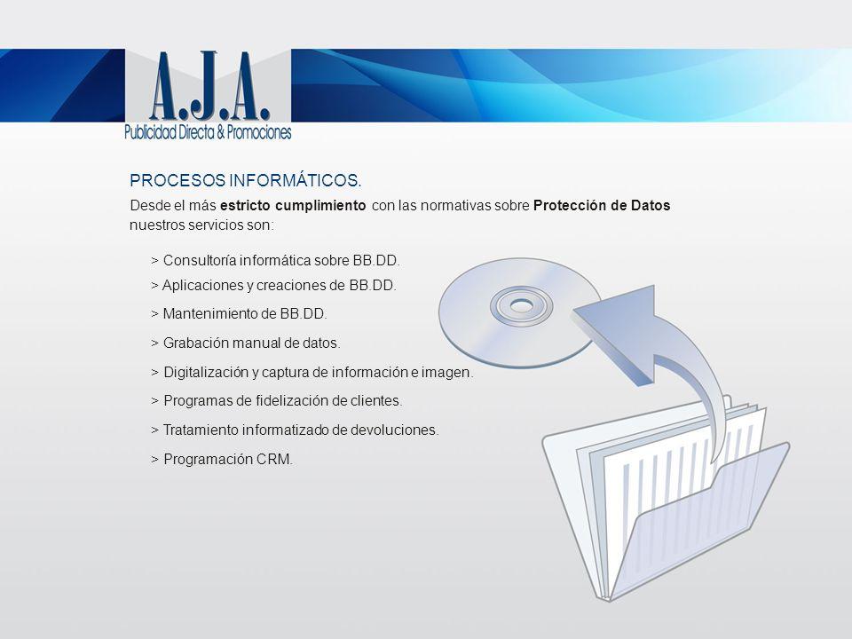 PROCESOS INFORMÁTICOS. Desde el más estricto cumplimiento con las normativas sobre Protección de Datos nuestros servicios son: > Consultoría informáti