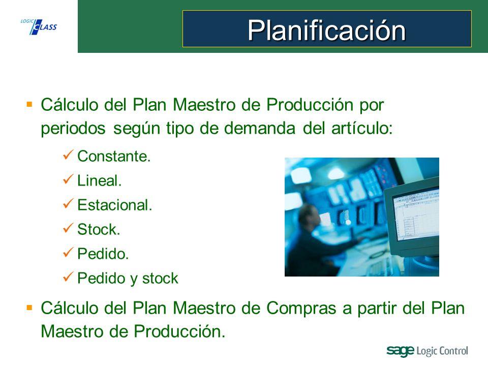 Cálculo del Plan Maestro de Producción por periodos según tipo de demanda del artículo: Constante.