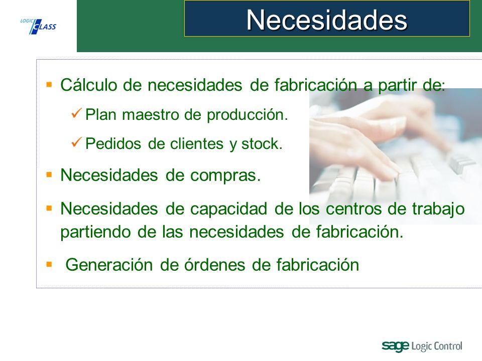 Cálculo de necesidades de fabricación a partir de : Plan maestro de producción.