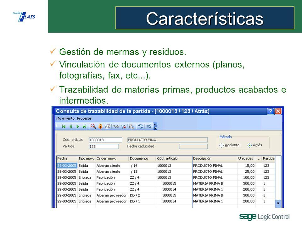 Producción Logic Class permite: Vinculación de documentos externos (planos, fotografías, fax, etc...).
