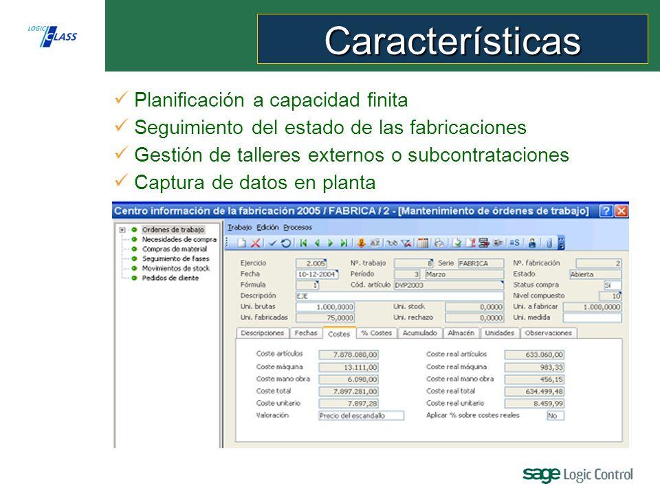 Captura de datos en planta Planificación a capacidad finita Seguimiento del estado de las fabricaciones Gestión de talleres externos o subcontrataciones Características