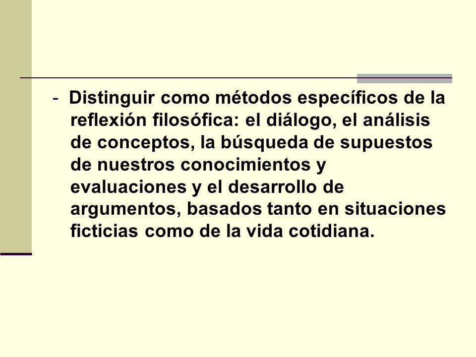 - Distinguir como métodos específicos de la reflexión filosófica: el diálogo, el análisis de conceptos, la búsqueda de supuestos de nuestros conocimie