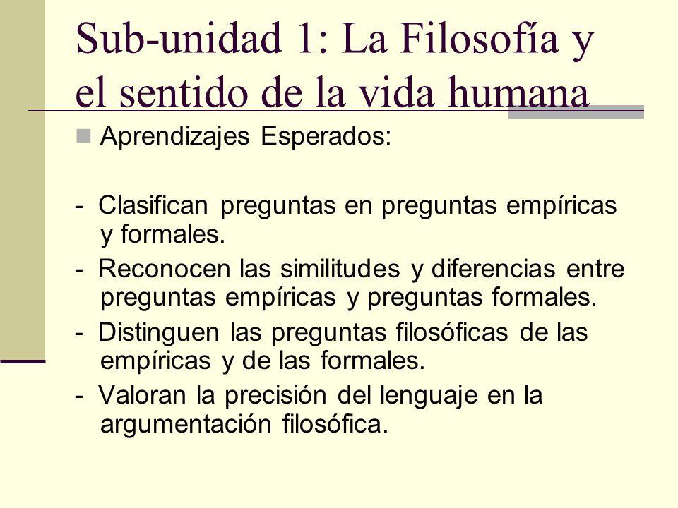 Sub-unidad 1: La Filosofía y el sentido de la vida humana Aprendizajes Esperados: - Clasifican preguntas en preguntas empíricas y formales. - Reconoce
