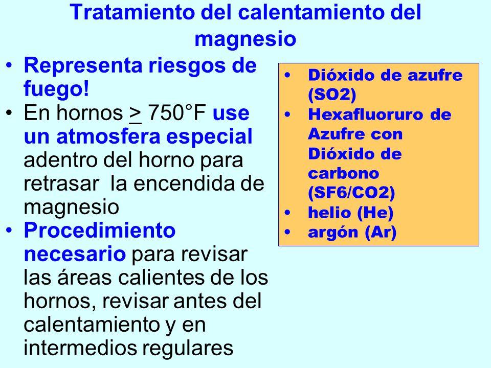 Tratamiento del calentamiento del magnesio Representa riesgos de fuego! En hornos > 750°F use un atmosfera especial adentro del horno para retrasar la