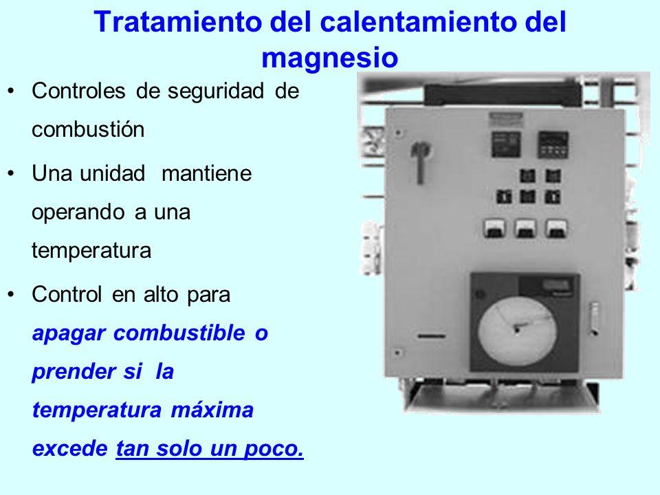 Tratamiento del calentamiento del magnesio Controles de seguridad de combustión Una unidad mantiene operando a una temperatura Control en alto para ap