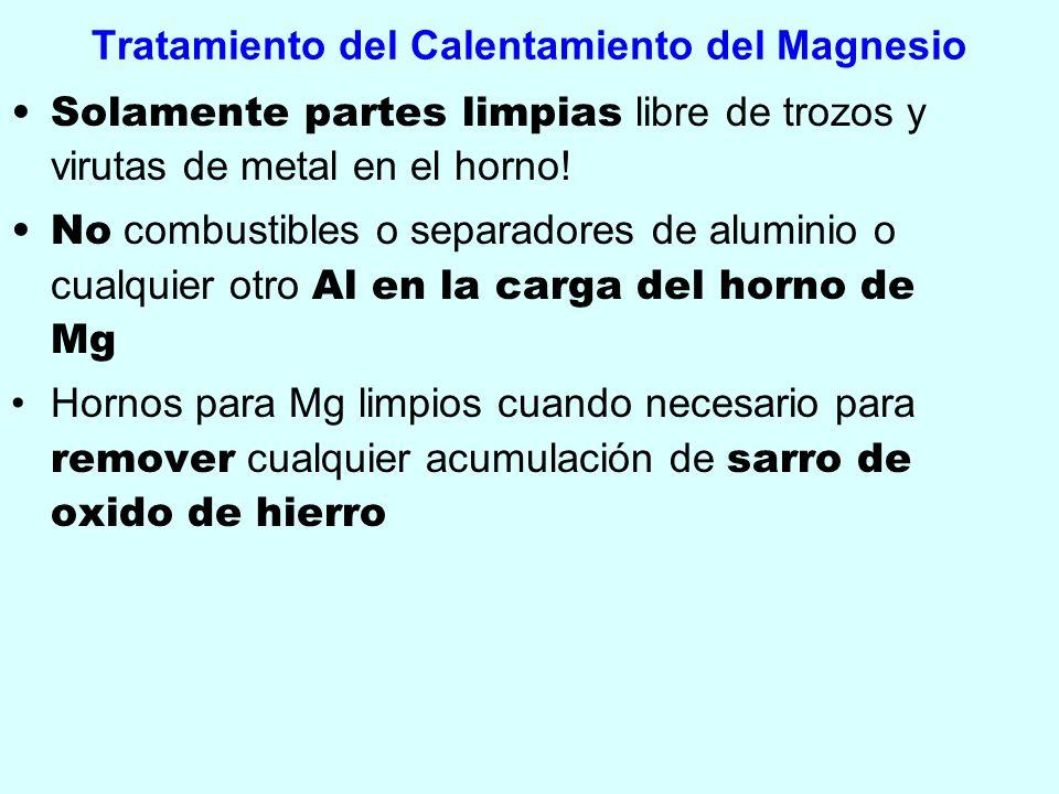 Tratamiento del Calentamiento del Magnesio Solamente partes limpias libre de trozos y virutas de metal en el horno! No combustibles o separadores de a