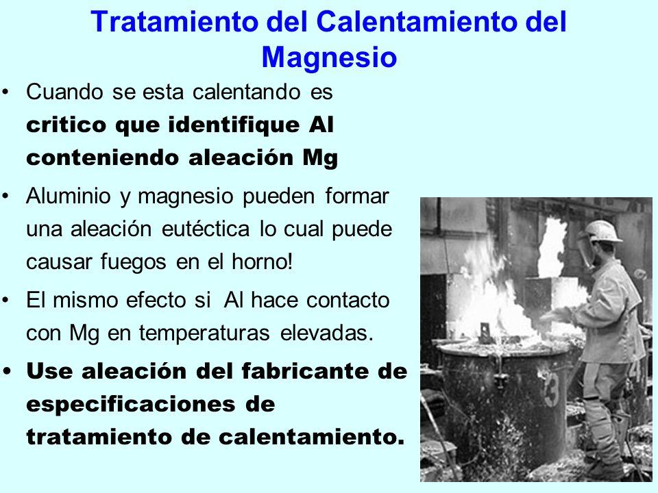 Tratamiento del Calentamiento del Magnesio Cuando se esta calentando es critico que identifique Al conteniendo aleación Mg Aluminio y magnesio pueden