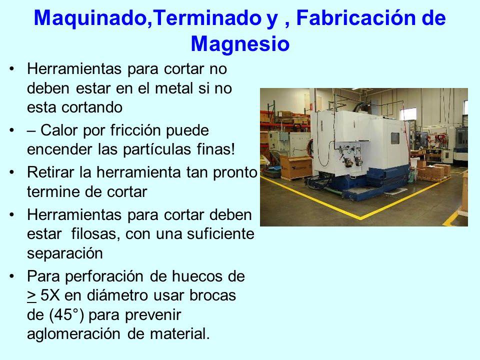 Maquinado,Terminado y, Fabricación de Magnesio Herramientas para cortar no deben estar en el metal si no esta cortando – Calor por fricción puede ence