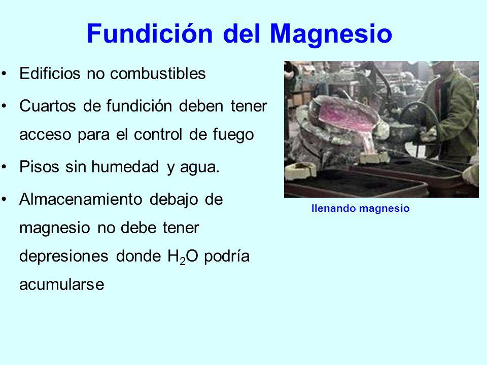 Fundición del Magnesio Edificios no combustibles Cuartos de fundición deben tener acceso para el control de fuego Pisos sin humedad y agua. Almacenami