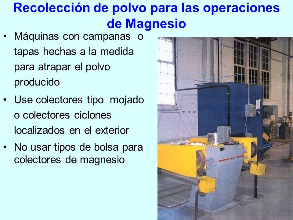 Recolección de polvo para las operaciones de Magnesio Máquinas con campanas o tapas hechas a la medida para atrapar el polvo producido Use colectores