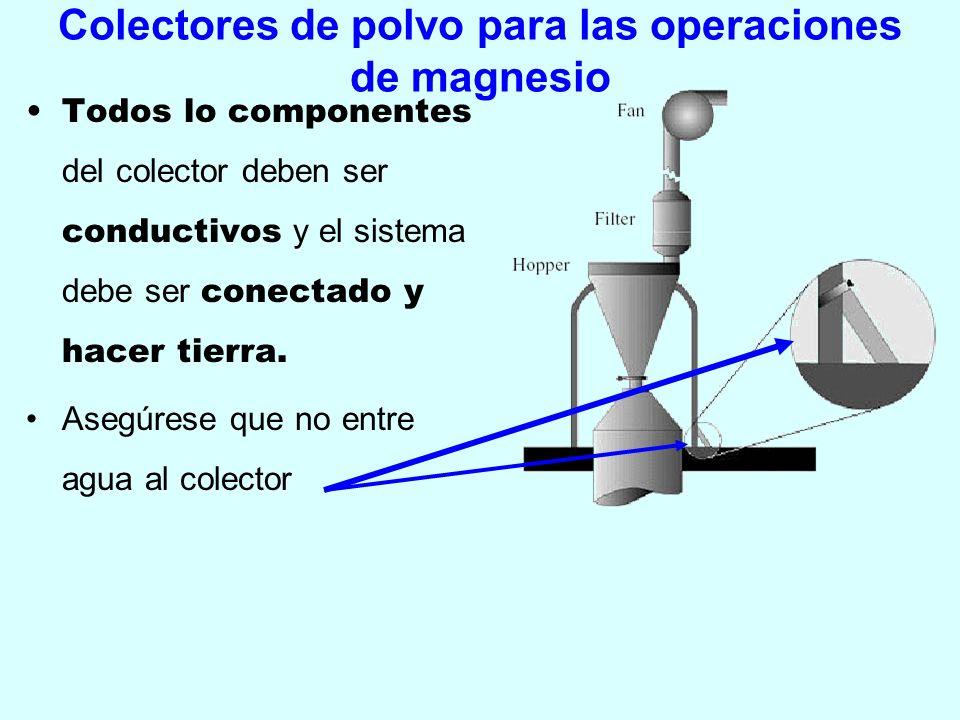 Colectores de polvo para las operaciones de magnesio Todos lo componentes del colector deben ser conductivos y el sistema debe ser conectado y hacer t
