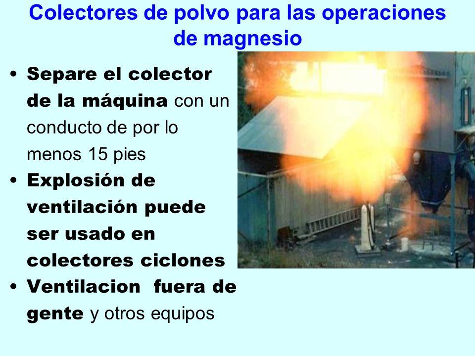 Colectores de polvo para las operaciones de magnesio Separe el colector de la máquina con un conducto de por lo menos 15 pies Explosión de ventilación