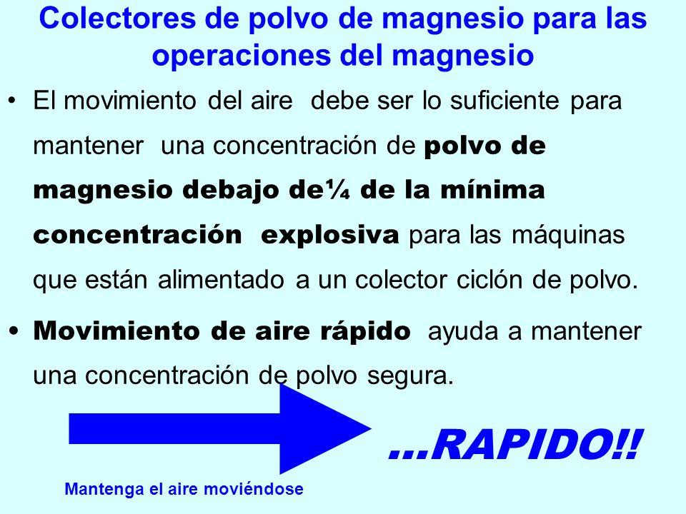 Colectores de polvo de magnesio para las operaciones del magnesio El movimiento del aire debe ser lo suficiente para mantener una concentración de pol