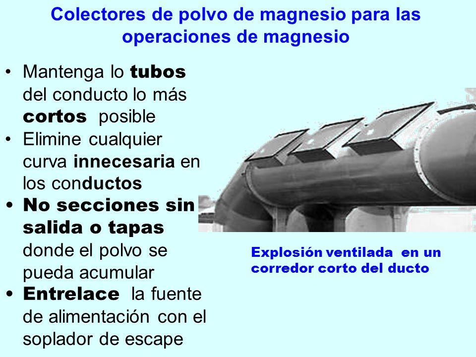 Colectores de polvo de magnesio para las operaciones de magnesio Mantenga lo tubos del conducto lo más cortos posible Elimine cualquier curva innecesa