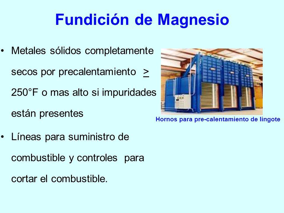 Fundición de Magnesio Metales sólidos completamente secos por precalentamiento > 250°F o mas alto si impuridades están presentes Líneas para suministr