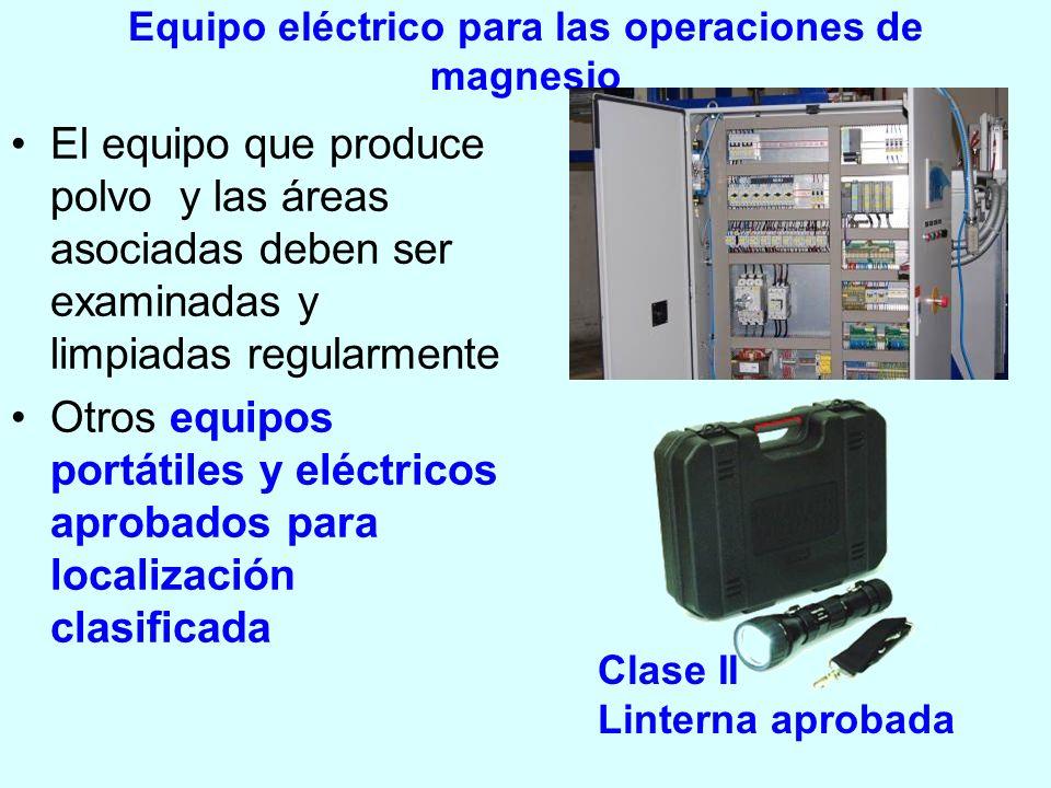 Equipo eléctrico para las operaciones de magnesio El equipo que produce polvo y las áreas asociadas deben ser examinadas y limpiadas regularmente Otro