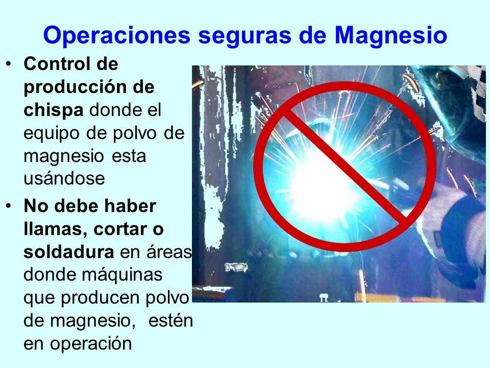 Operaciones seguras de Magnesio Control de producción de chispa donde el equipo de polvo de magnesio esta usándose No debe haber llamas, cortar o sold
