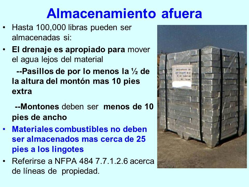 Almacenamiento afuera Hasta 100,000 libras pueden ser almacenadas si: El drenaje es apropiado para mover el agua lejos del material --Pasillos de por