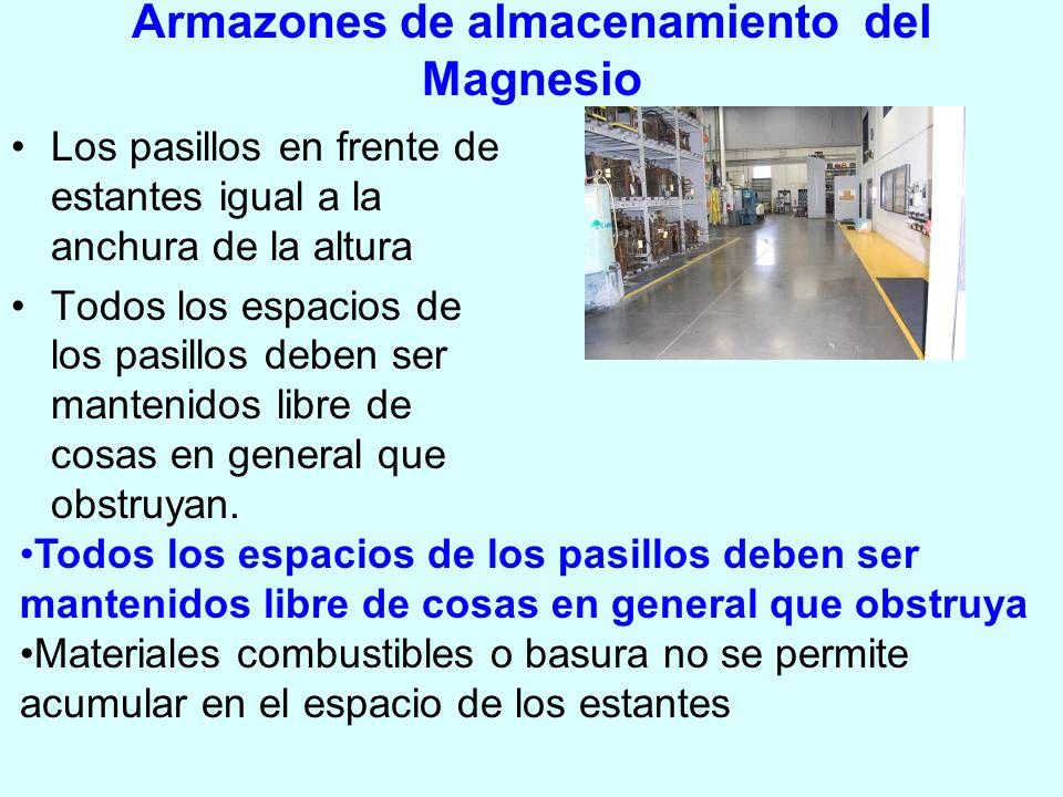 Armazones de almacenamiento del Magnesio Los pasillos en frente de estantes igual a la anchura de la altura Todos los espacios de los pasillos deben s