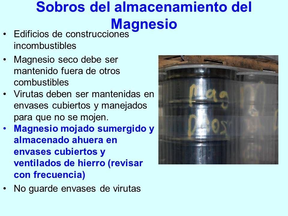 Sobros del almacenamiento del Magnesio Edificios de construcciones incombustibles Magnesio seco debe ser mantenido fuera de otros combustibles Virutas