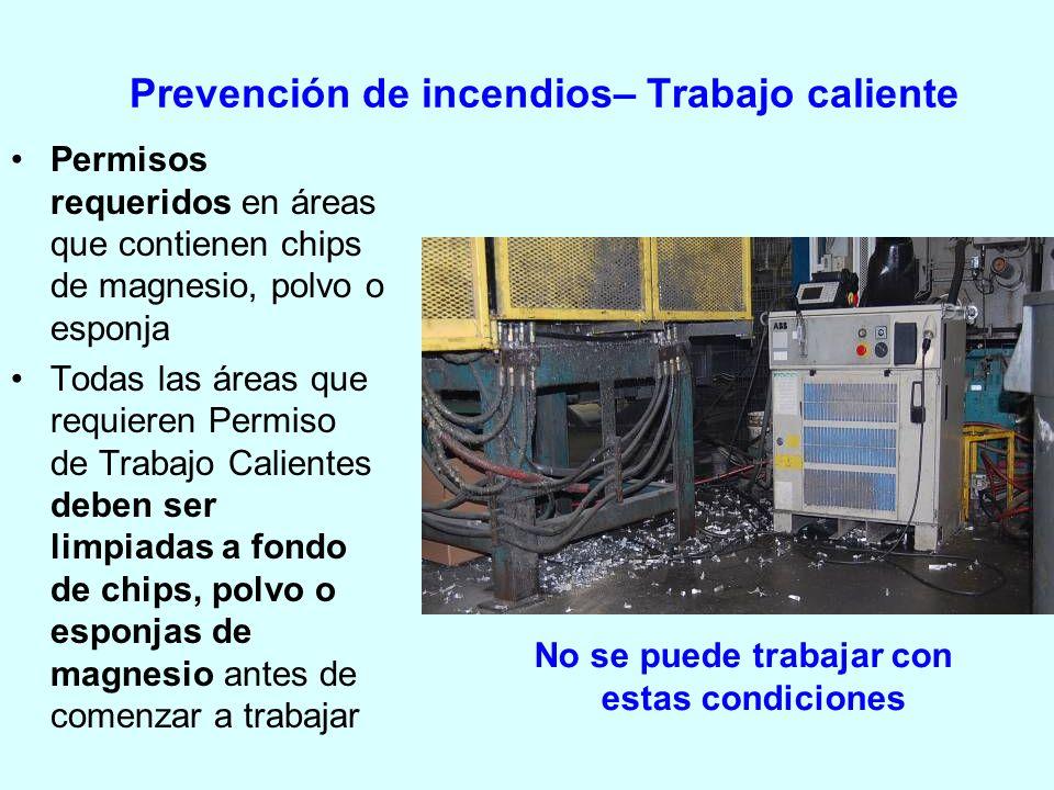 Prevención de incendios– Trabajo caliente Permisos requeridos en áreas que contienen chips de magnesio, polvo o esponja Todas las áreas que requieren