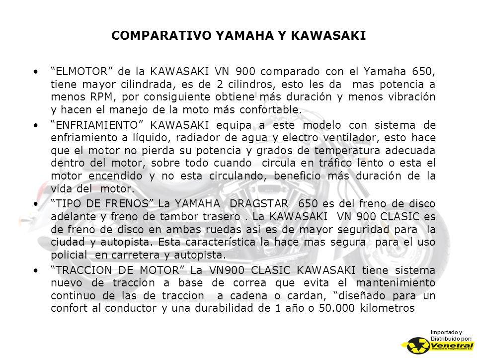 COMPARATIVO YAMAHA Y KAWASAKI Importado y Distribuido por: ELMOTOR de la KAWASAKI VN 900 comparado con el Yamaha 650, tiene mayor cilindrada, es de 2