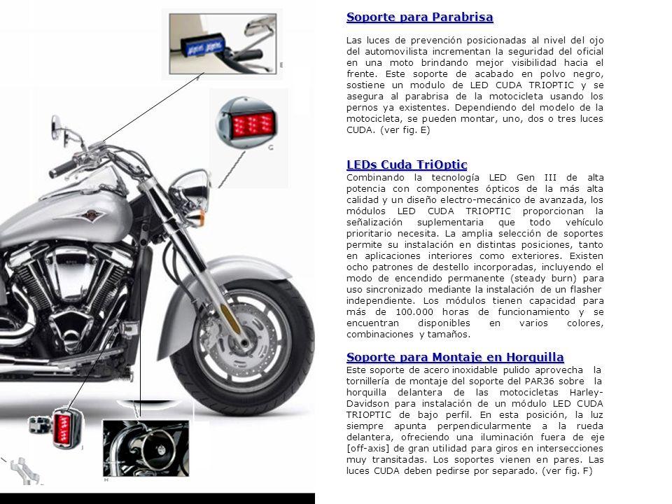 Soporte para Parabrisa Las luces de prevención posicionadas al nivel del ojo del automovilista incrementan la seguridad del oficial en una moto brinda