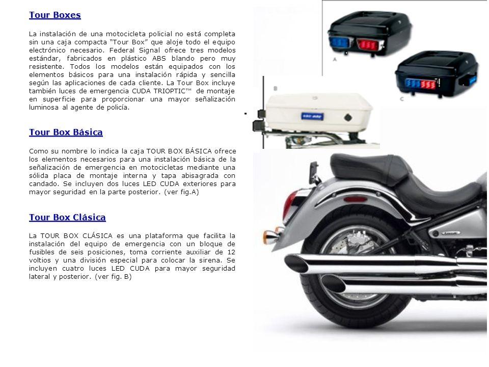 Tour Boxes La instalación de una motocicleta policial no está completa sin una caja compacta Tour Box que aloje todo el equipo electrónico necesario.