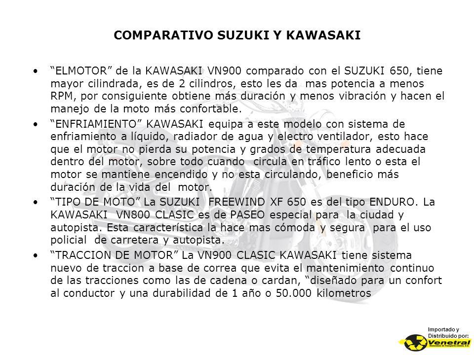 COMPARATIVO SUZUKI Y KAWASAKI Importado y Distribuido por: ELMOTOR de la KAWASAKI VN900 comparado con el SUZUKI 650, tiene mayor cilindrada, es de 2 c