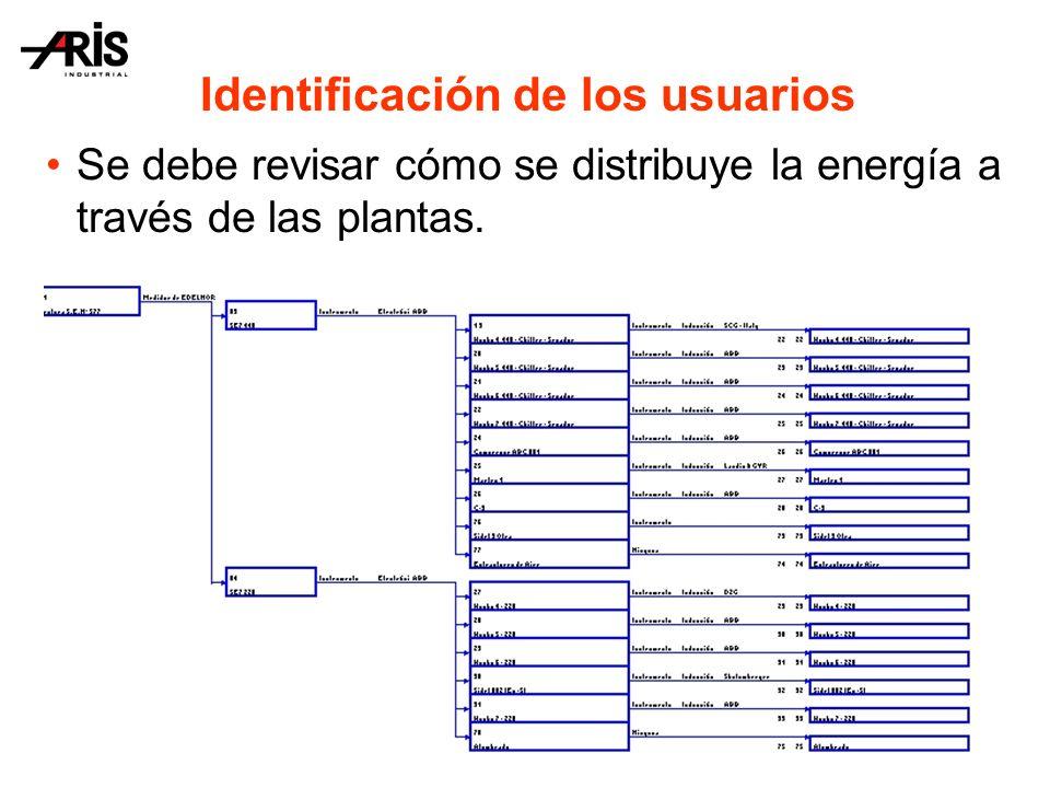 Identificación de los usuarios Se debe revisar cómo se distribuye la energía a través de las plantas.