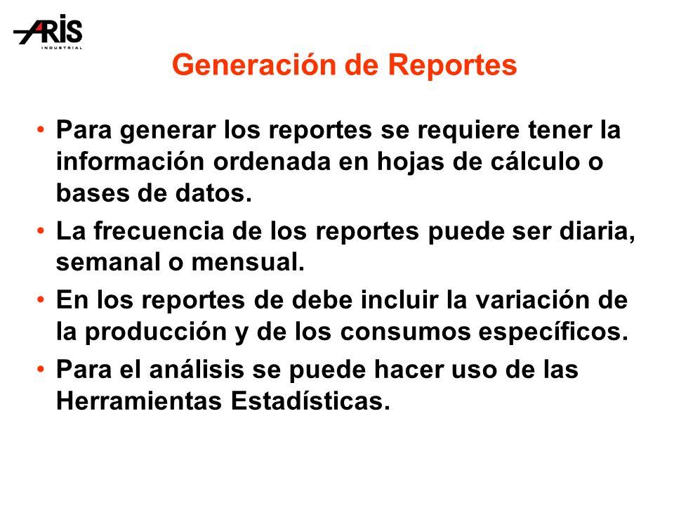 Para generar los reportes se requiere tener la información ordenada en hojas de cálculo o bases de datos.