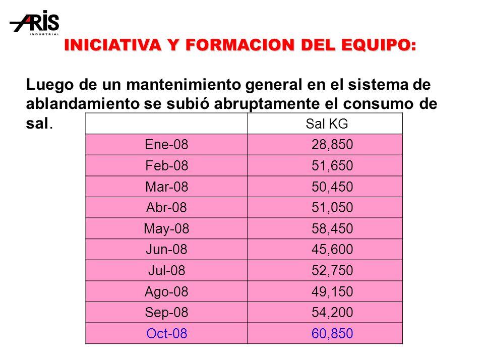 INICIATIVA Y FORMACION DEL EQUIPO INICIATIVA Y FORMACION DEL EQUIPO: Luego de un mantenimiento general en el sistema de ablandamiento se subió abruptamente el consumo de sal.