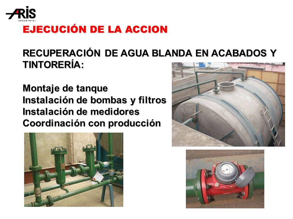 EJECUCIÓN DE LA ACCION RECUPERACIÓN DE AGUA BLANDA EN ACABADOS Y TINTORERÍA: Montaje de tanque Instalación de bombas y filtros Instalación de medidores Coordinación con producción