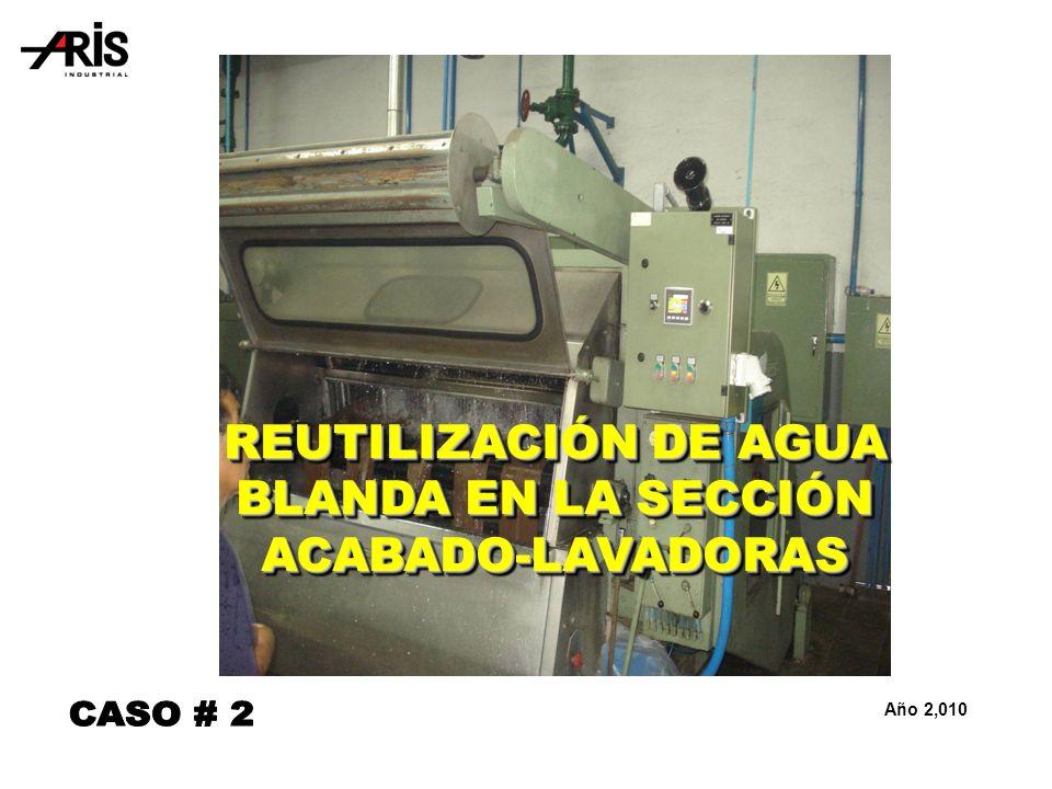 REUTILIZACIÓN DE AGUA BLANDA EN LA SECCIÓN ACABADO-LAVADORAS Año 2,010