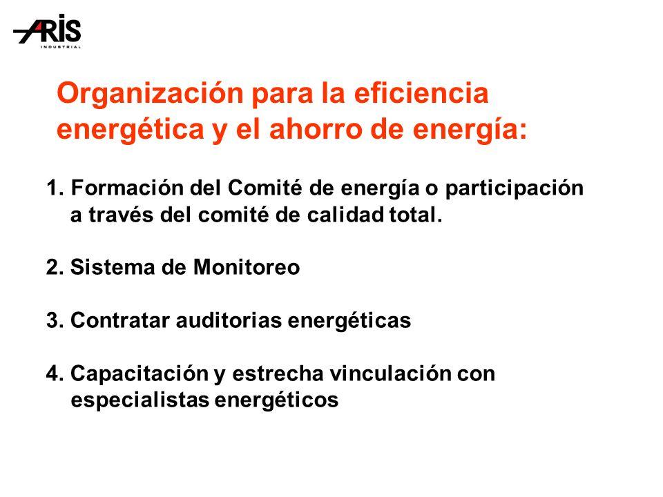 Organización para la eficiencia energética y el ahorro de energía: 1.Formación del Comité de energía o participación a través del comité de calidad total.