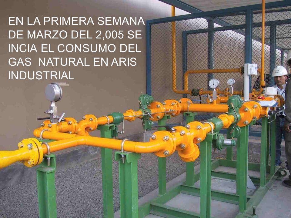 EN LA PRIMERA SEMANA DE MARZO DEL 2,005 SE INCIA EL CONSUMO DEL GAS NATURAL EN ARIS INDUSTRIAL
