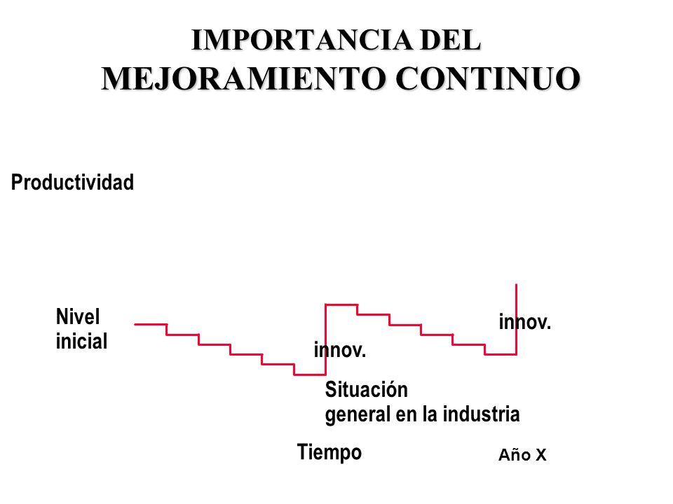 30 IMPORTANCIA DEL MEJORAMIENTO CONTINUO Nivel inicial Tiempo Productividad Situación general en la industria Año X innov.
