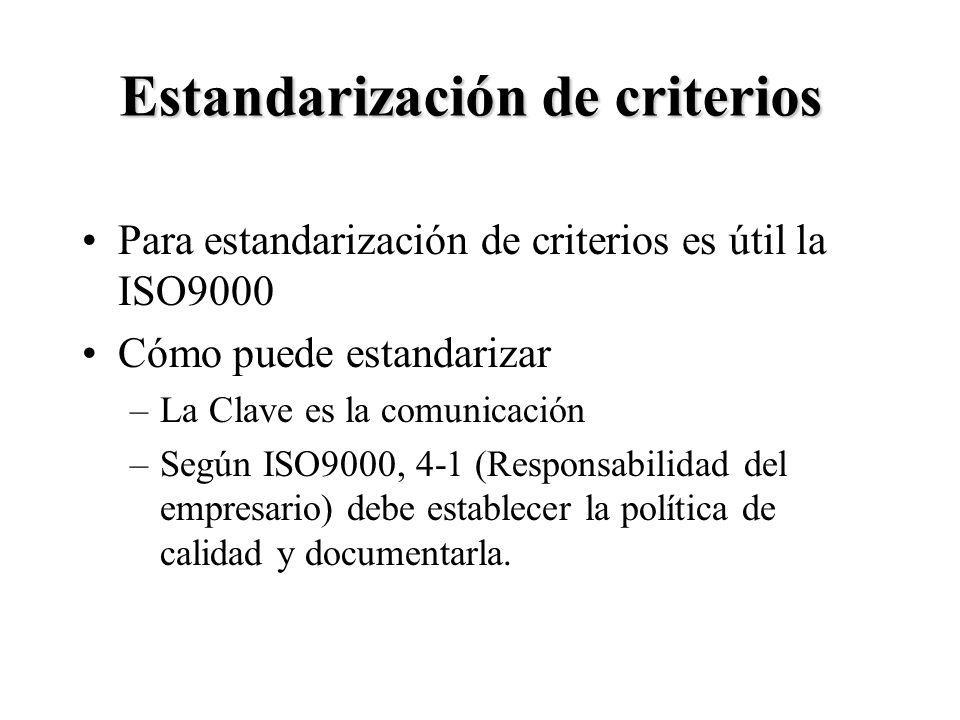 8 Estandarización de criterios Para estandarización de criterios es útil la ISO9000 Cómo puede estandarizar –La Clave es la comunicación –Según ISO900