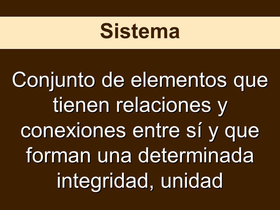 Sistema Conjunto de elementos que tienen relaciones y conexiones entre sí y que forman una determinada integridad, unidad