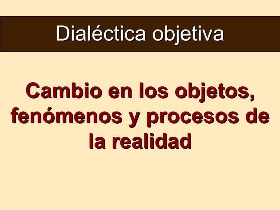 Dialéctica objetiva Cambio en los objetos, fenómenos y procesos de la realidad