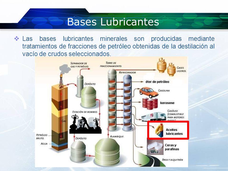 Bases Lubricantes Dependiendo de la naturaleza química del crudo del cual proceden, se clasifican en bases parafínicas y bases nafténicas.