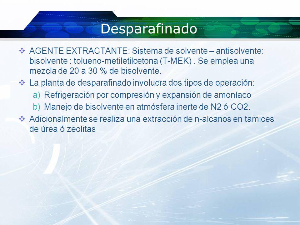 Desparafinado ACEITEBISOLVENTE DILUCION 40 °C ENFRIAMIENTO -20 °C FILTRACION FILTRADO RECUPERACION DE SOLVENTE ACEITE DESPARAFINADO PARAFINAS CERAS SOLVENTES RECUPERACION DE SOLVENTE PARAFINAS CERAS PARAFINAS SOLIDAS ACEITE SOLVENTE RECLISTALIZACION 0 °C FILTRACION ACEITE CERO SOLVENTE RECUPERACION DEL SOLVENTE ACEITE CERO