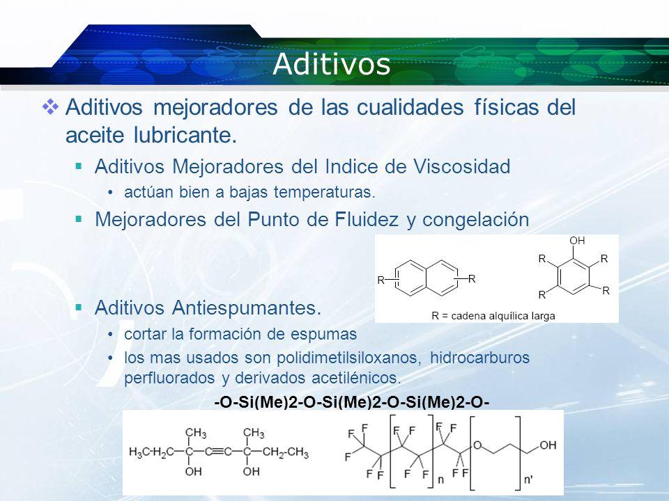Aditivos Aditivos mejoradores de las cualidades físicas del aceite lubricante.