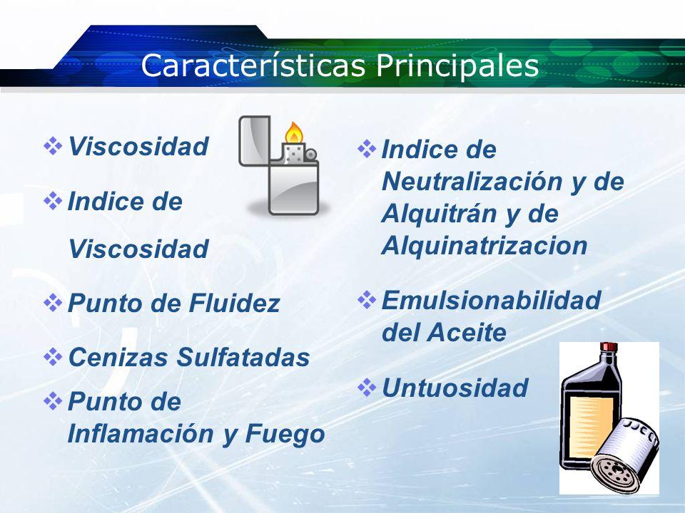 Características Principales Viscosidad -Resistencia de un fluido a fluir.