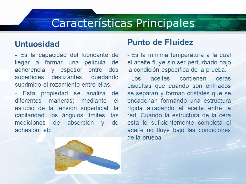 Características Principales Cenizas Sulfatadas - El residuo en porcentaje que permanece una vez quemada una muestra de aceite.