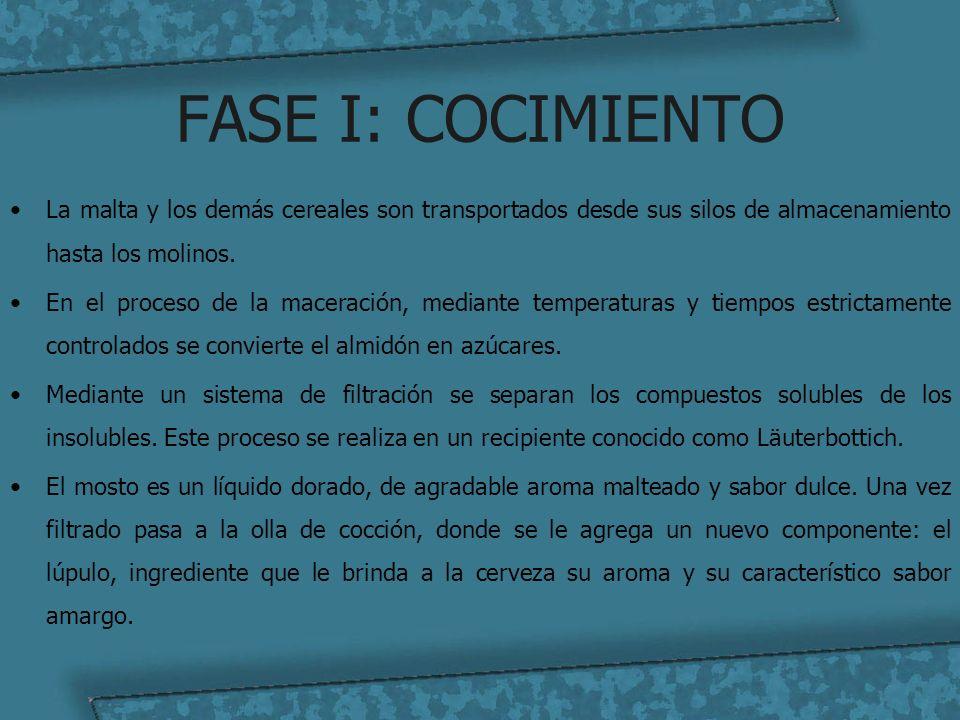 FASE I: COCIMIENTO La malta y los demás cereales son transportados desde sus silos de almacenamiento hasta los molinos. En el proceso de la maceración